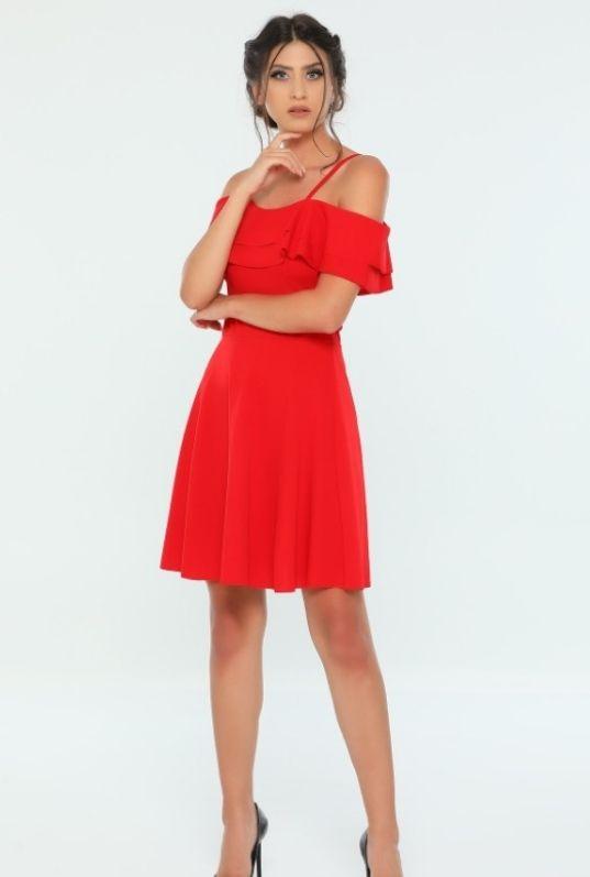 Kırmızı Askılı Yaka Volanlı Abiye Elbise