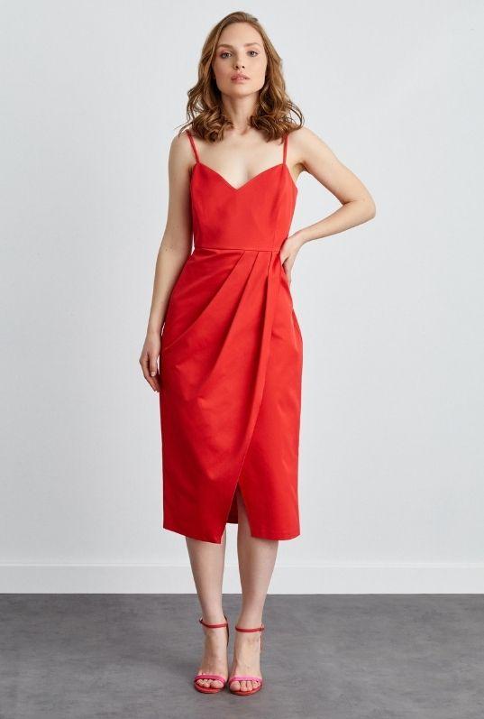 Kırmızı Coral İp Askılı Anvelop Elbise