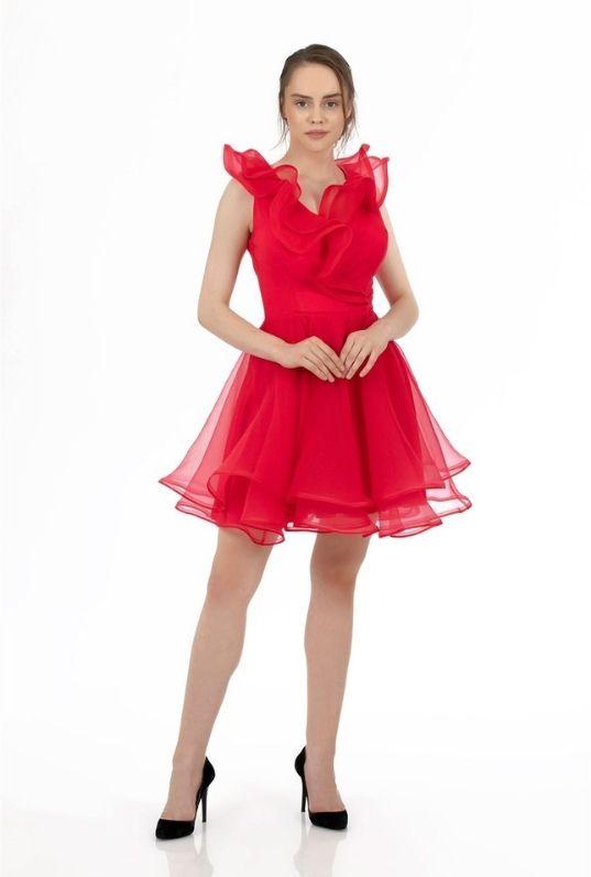 Carmen Kırmızı Organze Kısa Abiye Elbise