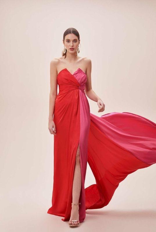 Kırmızı Pembe Straplez Yırtmaçlı Uzun Elbise