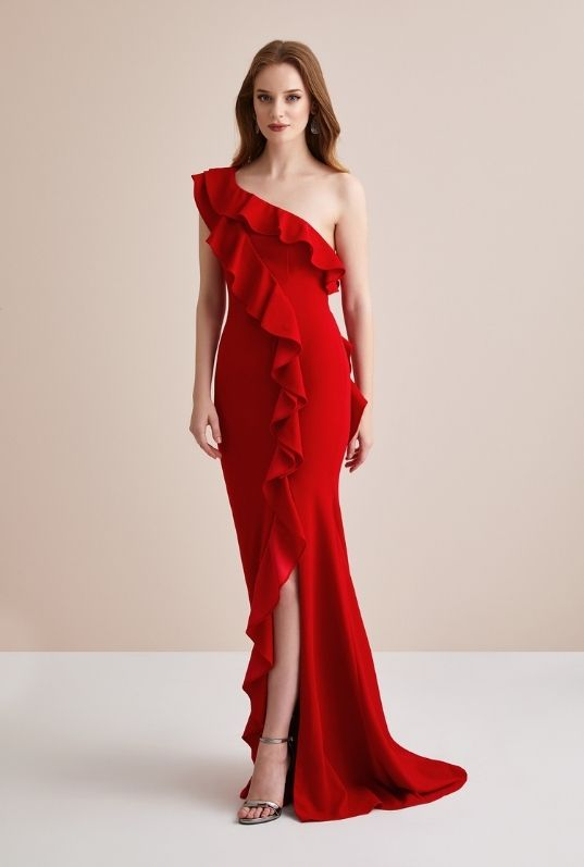 Kırmızı Tek Kollu Fırfırlı Uzun Abiye Elbise