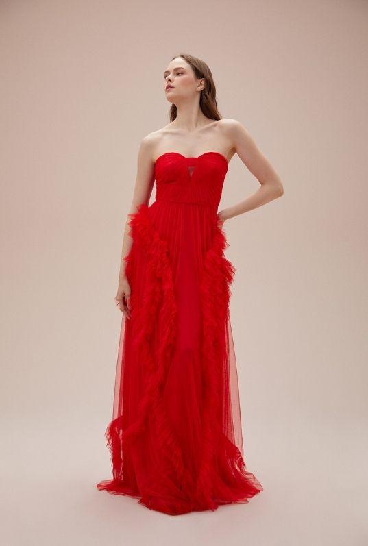 Neon Kırmızı Kalp Yaka Tül Uzun Abiye Elbise